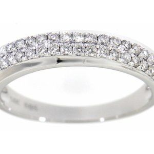 Solid Diamond Fashion Wedding Band 14K White Gold